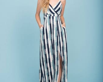 Tristan Pocket Maxi Dress Navy