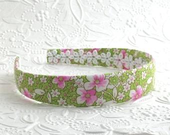 Girls Headband, Preppy Headband / Womens Pink and Green Fabric Headband ~ Women's / Adult Headband ~ Preppy Fabric Covered Headband