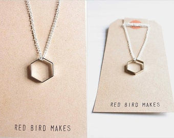 Minimalist Geometric Silver/Gold Hexagon Necklace