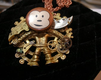 Pendant - Funky steam punk monkey - recycled, upcycled, funny, charming   trashion team, FunkyAlternativeJewelry, SupportingArtists, WWWG