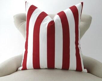 Red Stripe Pillow Cover -MANY SIZES- Canopy Lipstick white custom sham geometric euro decorative 18x18 24x24 28x28 Premier Prints