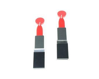 Lipstick earrings  - red lipstick dangle drop earrings - laser cut acrylic earrings