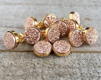 Druzy Earrings, Druzy Stud Earrings, Rose Gold Druzy, Rose Gold Earrings, Rose Gold Studs, Druzy Jewelry, Wedding Earrings, Bridesmaid Gifts