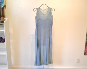 "1920s Pale Blue Silk Chiffon Dress. Pleated, Sleeveless, Sheer with Lining.  XS Small 30"" bust. Snaps on Size"