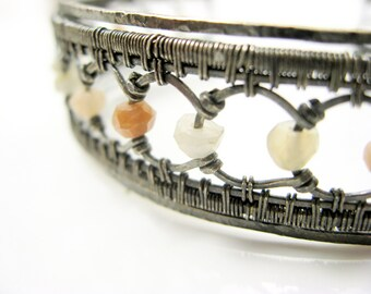 interlok cuff - sterling silver + muticolor moonstone bracelet. antiqued. size medium, 7.