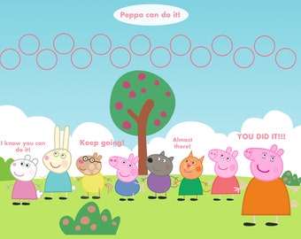 Personalized Children's Incentive Chart, Reward Chart, Playful Pig, Printable DIY