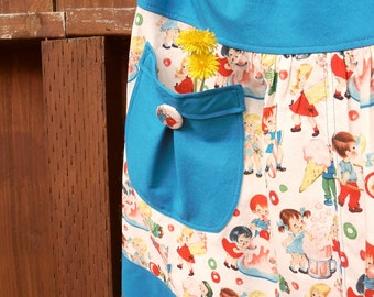woman's A Line Skirt, ViNtAGe InSpiReD rETrO cAnDy ShOp, cUtE kiDs, with pocket, Skirt size women's 2-22