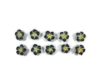 12 mm Polymer Clay Plumeria Flowers Set of 10 (MP14)