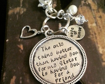 Personalized, Hand Stamped Keychain for Bridesmaid, Maid of Honor, Mother of the Bride