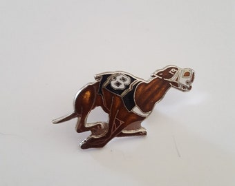 Vintage enamel like Greyhound Dog racing hat pin, tie tack, by Mapco
