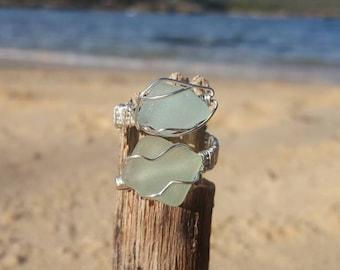 seafoam& aqua seaglass ring/ adjustable/ wirework/handmade/sustainable jewelry