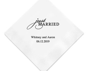 Just Married Wedding Napkins Personalized (Pack of 100)