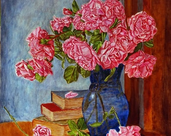Still life. Roses in a vase. Oil painting on canvas. Flowers in a vase. Original picture. Beautiful still life