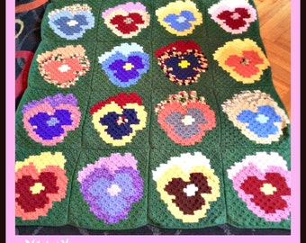 C2C Graph, Pansy Afghan, C2C Graph, & Written Word Chart, Pansy C2C, Pansy Graph, Corner to Corner