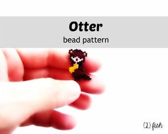 Bead Pattern Otter with Fish, Brick Stitch Beading, Cute Animal Charm