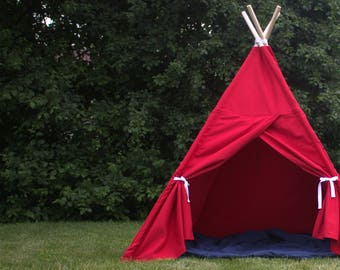 Canvas Kids Teepee Tent, Two Sizes, Play Tent, Kids Tepee, Playhouse, Childrens Tent, Kids Gift, Ready to Ship, Ships FULLY ASSEMBLED