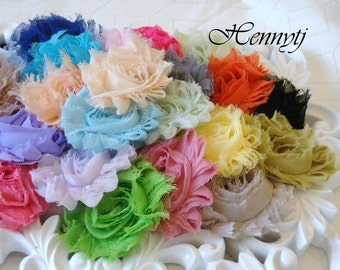50 pieces - Pre Packed Shabby Chic Frayed Vintage look Chiffon Rosette Flowers - Assorted SOLID Color