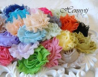 Satz von 24 look Pre verpackt Shabby Chic ausgefranst Vintage Chiffon Rosette Blumen - Assorted Farbe