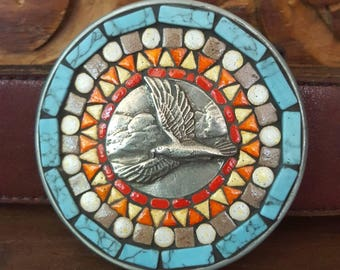 Mosaic Belt Buckle with Eagle
