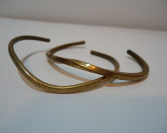 Vintage 70s Brass Bangle Bracelets Fashion Jewelry Retro Accessory, Stocking Stuffers, Gifts under 20