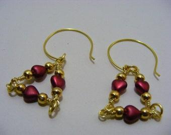 Red Heart Triangle Earrings
