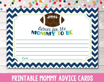 Football Printable Advice for Mommy to Be Cards Instant Download PDF