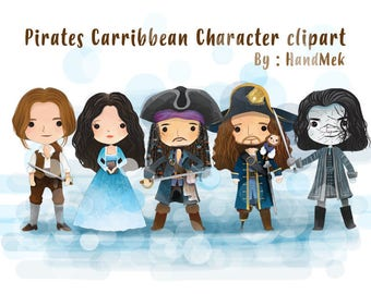 Pirates Carribbean character clipart instant Download PNG file - 300 dpi.