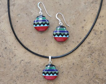 SALE! Multi Inlay Southwestern Pottery Jug Earrings, Necklace, & SET (Zuni Fetish style)