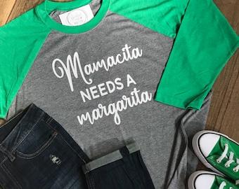 Mamacita Needs a Margarita Raglan Baseball Shirt - Funny Shirt - Drinking Raglan Tee - Cinco T-shirt - Girls Night Out Raglan Shirt