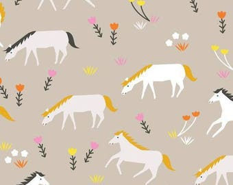 Aneela Hoey for Cloud 9 ORGANIC FABRIC - Stay Gold - Ponies in Mist