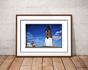 Coastal Decor-Rhode Island Photography-Point Judith Lighthouse Photography-Nautical Wall Art-Blue Wall Art-Fine Art Print-Large Sofa Art