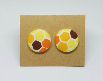 Orange and Yellow Honeycomb Fabric Button Earrings