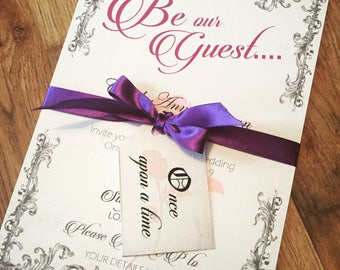 Beauty and the beast invite, Once apon a time invitation, Be our Guest wedding invitation, fairytale themed invitation,