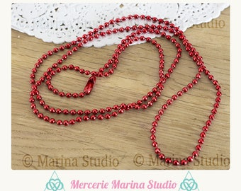Red necklace 70 cm ball 2.4 mm for jewelry creations