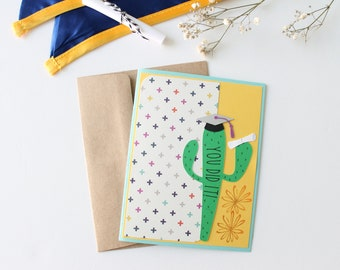 You Did It!, Cactus, Graduation Card, Graduation, Cap, Handmade, Blank Inside