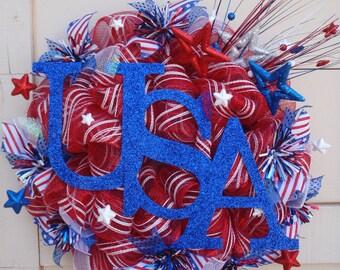 July 4th wreath,4th July wreath,patriotic wreath,USA wreath,red white blue wreath,july 4 wreath,Independence day wreath,July 4 decor