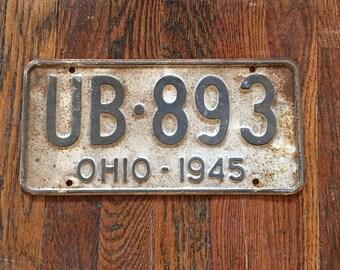 Vintage Ohio License Plate 1945