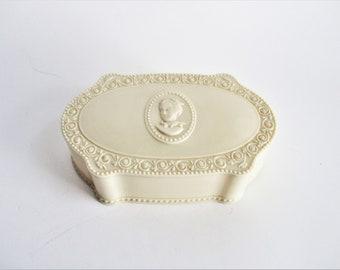 Vintage Vanity Box Luxor Cameo Powder Box Ladie's Vanity Dresser Celluloid Trinket Box