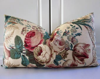 Cowtan Tout Decorative Pillow Cover-Tea Stained Roses-Handprint-13x23 Lumbar