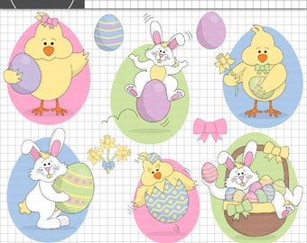 Easter Bunny Clipart, Easter Chick Clipart, Rabbit Clipart, Easter Clip Art,  Easter Egg Clip Art, Instant Download, Commercial