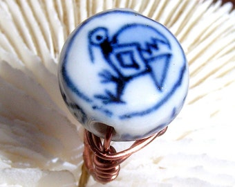 Wire Wrapped Ring, Customize your Ring: Antique Copper, Silver Filled , Antique Brass, Ceramic Center Piece, Jewelry,Wire Ring