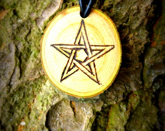 Pentagram Pendant in Ash wood for power and protection!