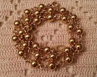 Gold Beaded Choker Necklace, Shiny Finish,  MINT CONDITION
