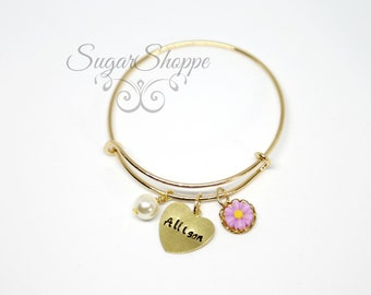 Flower Girl Bracelet, Personalized Girl's Bangle, Flowers and Pearls, Hand-stamped adjustable bangle, Birthday, Easter Basket, Fast Shipping