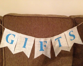 Burlap Gifts Banner - Country Chic Wedding Reception