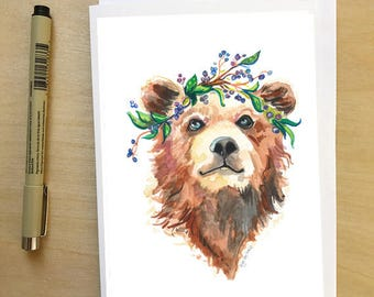 Bear in Blueberries, animal in a flower crown, greeting card by Abigail Gray Swartz