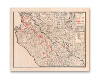 "Monterey County Map, Maple Wood Print Map, Wall Art, Home Decor, 16x20""."
