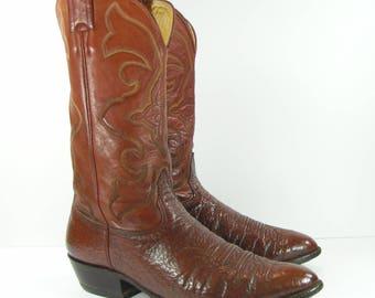 vintage cowboy boots mens 12 D brown western leather nocona biker farm