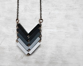 Geometric pendant. Chevron wood Necklace. Anniversary gift. Unique design. Jewelry made of natural material. Sustainable jewelry. MIDNIGHT