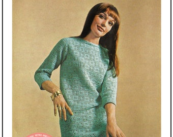 1960s Dress Retro Crochet Pattern - PDF Instant Download